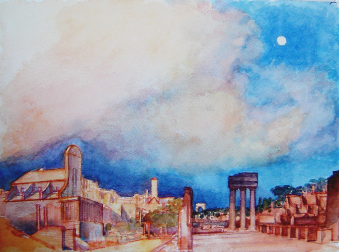 Foro_Romana_Roma_watercolor_11x14_inches_from_a_sketchbook_drawing_made_on_locationb_sm